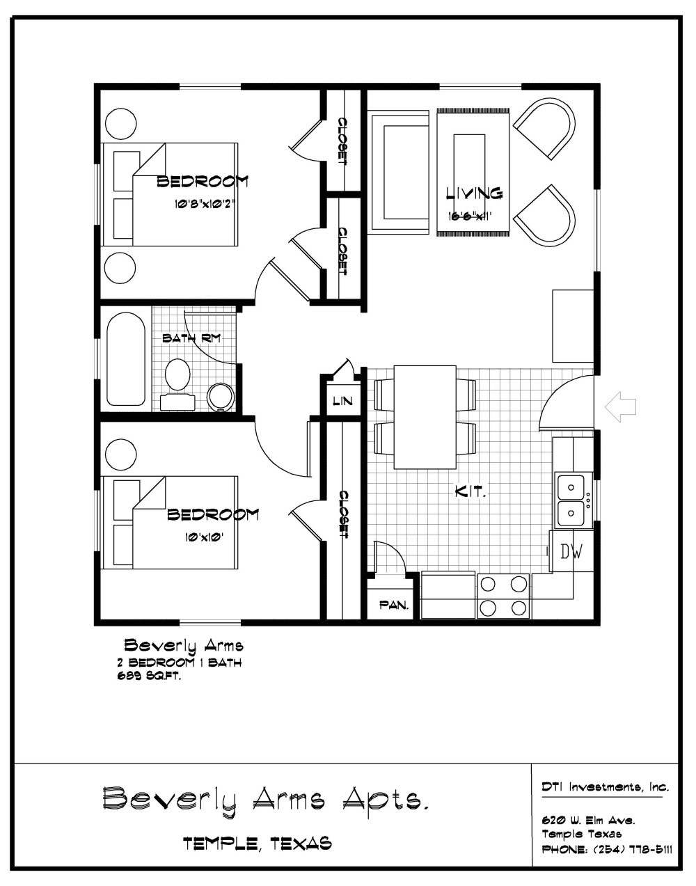 2 Bedroom, 1 Bath, 689 Sf