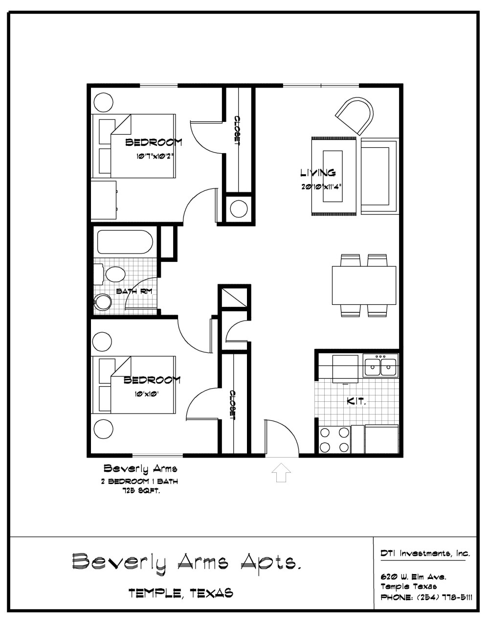 2 Bedroom, 1 Bath, 725 Sf